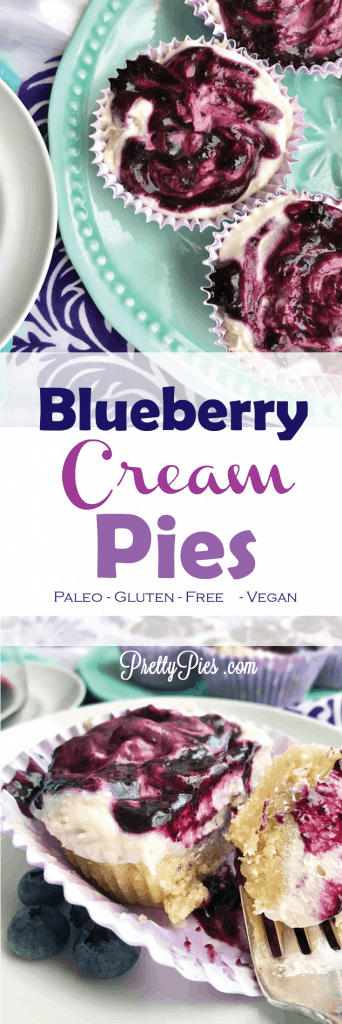 Everyone gets their own pie! A soft cookie crust topped with a cloud of cream and a swirl of blueberry sauce-- Heavenly!  No-BAKE Blueberry Cream Pies - free from refined sugar, gluten, grains, dairy & eggs #vegan & #Paleo recipe from PrettyPies.com