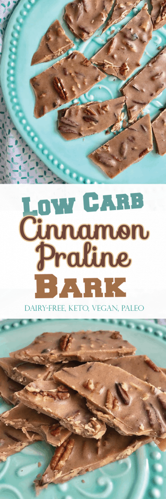 Low Carb Cinnamon Praline Bark. 6 ingredients, NO sugar! Irresistible soft crunch! - PrettyPies.com #vegan #paleo #keto