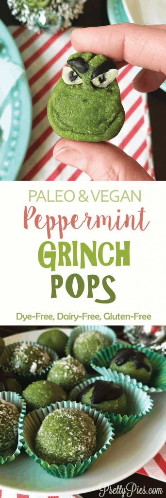 Peppermint Grinch Pops - (Vegan, Paleo, Dye-Free) PrettyPies.com
