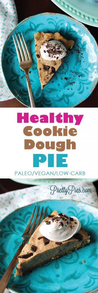 Healthy Cookie Dough Pie! No gluten, dairy, or sugar! Low Carb and nutrient-packed thanks to a secret ingredient! #vegan #paleo #lowcarb - PrettyPies.com