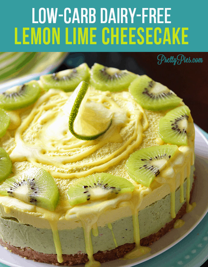 Lemon Lime Cheesecake!! #guiltfree No one will know it's secretly healthy - free from gluten, dairy, soy, eggs and sugar! Easy to make & no-bake. #lowcarb #dairyfree #healthydesserts recipe from PrettyPies.com