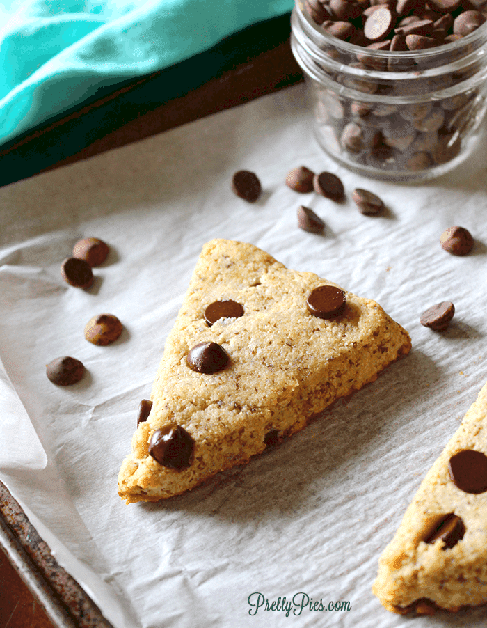 Chocolate Chip Scones (Keto, Paleo, Vegan) PrettyPies.com